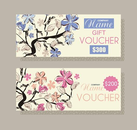 Gift voucher template with floral design, vector.