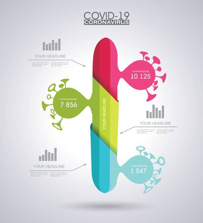 Coronavirus, COVID-19 infection statistics information board, cases chart. Vector illustration.