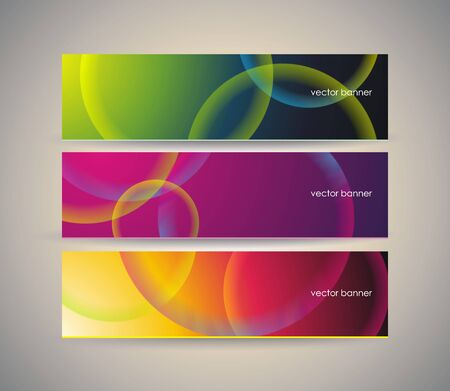 Abstract banners with fractal background of crossing circles.