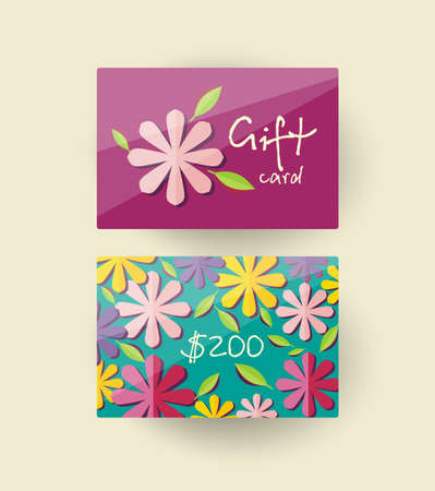 Voucher template with floral design.