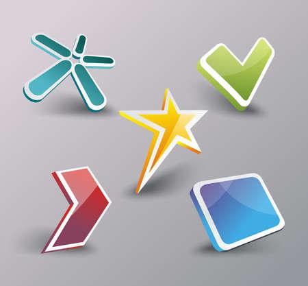 Web icons set, internet symbols 3d design, vector.
