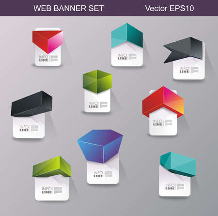 Web panels design, can be used for online services, websites and applications.