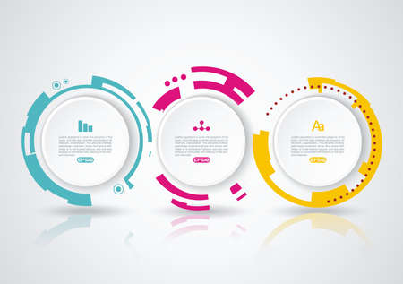 Abstract circle infographics with options template. Can be used for diagram, data, step options, banner, web design. 向量圖像