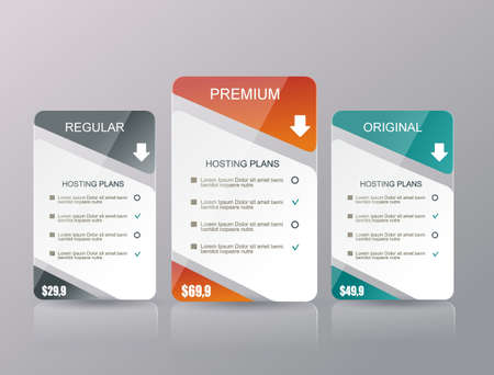 3 payment plans for online services, pricing table for websites and applications.