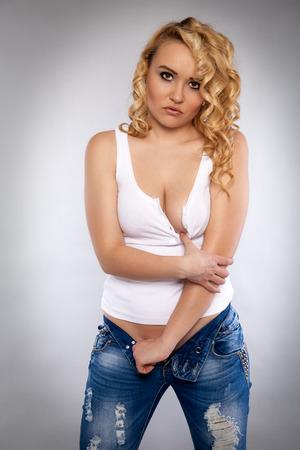 breast pocket: Nude blond woman in jeans