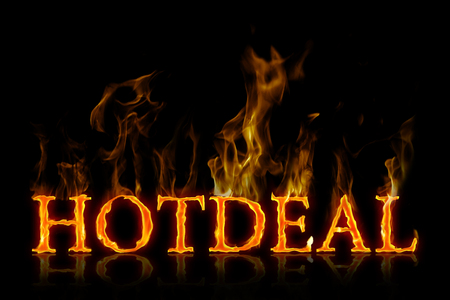 Hot deal lettering in english Stock Photo