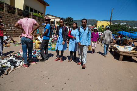 Editorial. A market day with many local products on the island of Madagascar