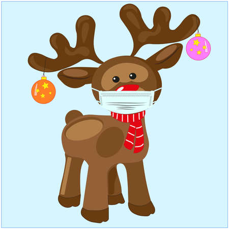 Rudolf the reindeer with the red nose and face mask