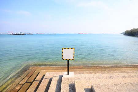 Signs warning at sea