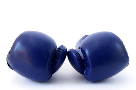 Blue Gloves boxing draw on white background Stock Photo