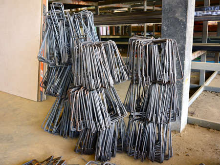 reinforcing: Square steel bar in the warehouse