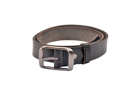 Black genuine leather belt on white background with clipping path Stock Photo