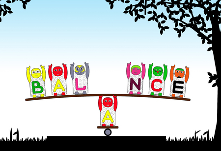 balancing act: ALPHABETICAL CHILDRENS NAMES B,A,L,N,C and E DO AMAZING ACT OF BALANCING - CARTOON ILLUSTRATION OF ALPHABETICAL CHILDREN - LETTER B, LETTER A, LETTER L, LETTER N, LETTER C, LETTER E