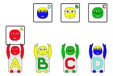 matching: EDUCATIONAL MATCHING FACES TASK WITH STANDING CHILDRENS NAMES A,B,C,D (GAME FACES CONCEPT) Stock Photo