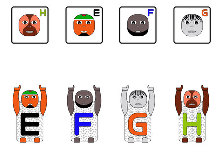 spelling book: EDUCATIONAL MATCHING CAPITAL LETTER TASK WITH CHILDRENS NAMES E,F,G,H. GAME FACES CONCEPT