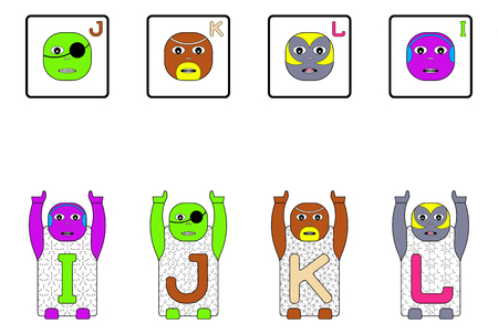 matching: EDUCATIONAL MATCHING CAPITAL LETTER TASK WITH CHILDRENS NAMES I,J,K,L. GAME FACES CONCEPT Stock Photo