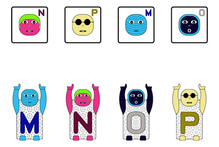 matching: EDUCATIONAL MATCHING CAPITAL LETTER TASK WITH CHILDRENS NAMES M,N,O,P. GAME FACES CONCEPT Stock Photo