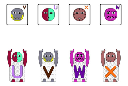 matching: EDUCATIONAL MATCHING CAPITAL LETTER TASK WITH CHILDRENS NAMES U,V,W,X. GAME FACES CONCEPT