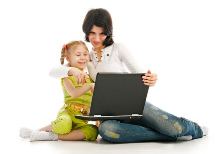 ma and child with laptop on white background