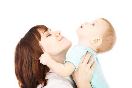 happy mother with baby over white background photo