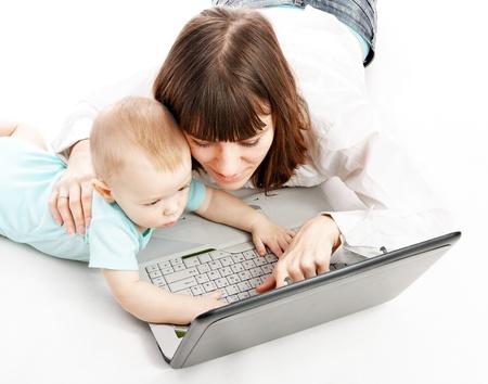 happy family with laptop Banco de Imagens