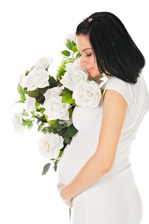 pregnant with roses on white