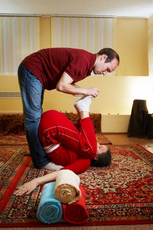 Thai massage is a type of massage in Thai style that involves stretching and deep massage photo