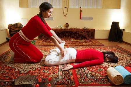 massaging: Thai massage is a type of massage in Thai style that involves stretching and deep massage.