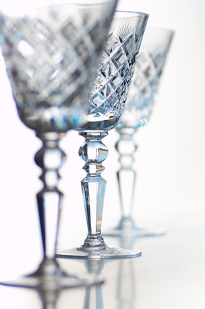 three beautiful crystal goblets for champaign photo