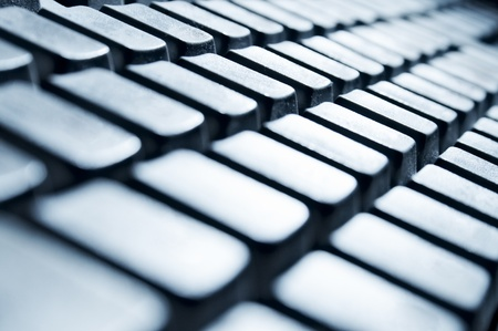 computer keyboard (macro, monochrome image) photo