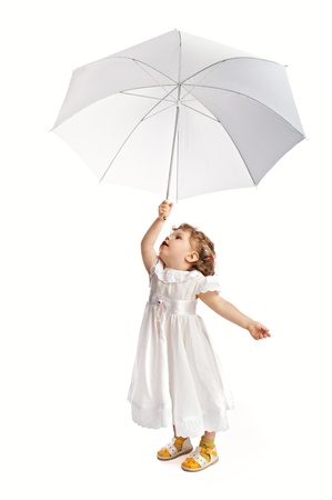 isilated: child with umbrella isilated on white background Stock Photo