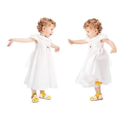 emotional twins isolated on white background Stock Photo - 8842802