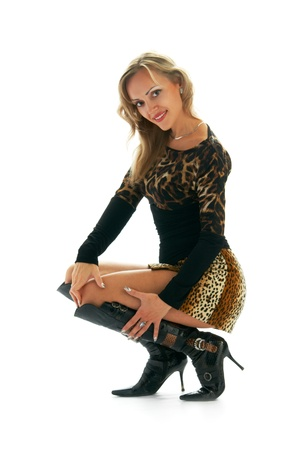 women in leopard skirt over white Stock Photo - 8843120