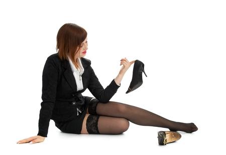 business brunette isolated on white background photo