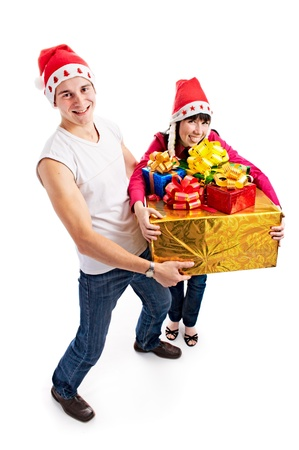 lucky pair of the people with gift for Christmas on white background Stock Photo - 8843779