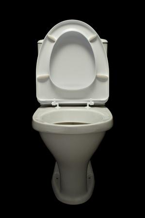 latrina: lavabo bianco isolato su sfondo nero
