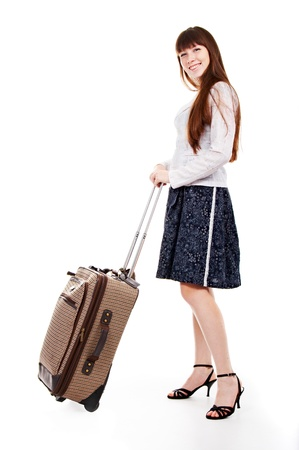 valise: portrait of the charming woman with valise on white background