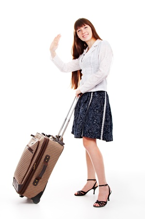 valise: woman with valise isolated on white background