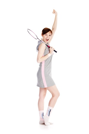woman with racket isolated on white