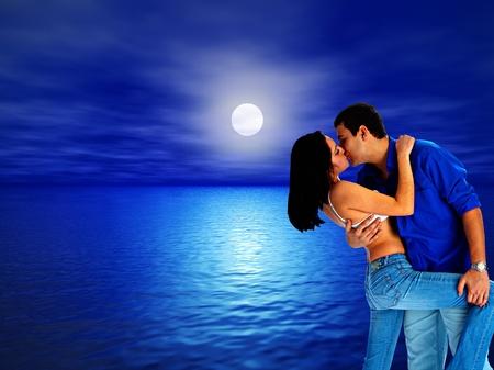 loving couple on background evening sea photo