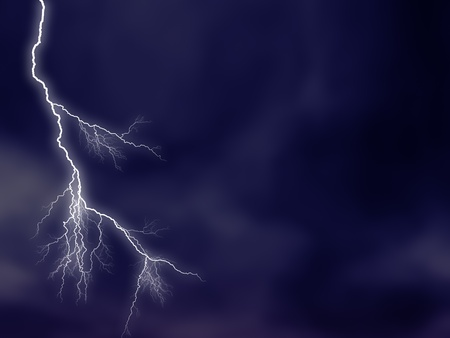 luminous lightning on stormy sky photo