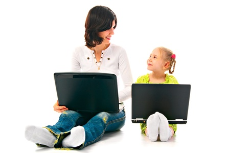 mum and child with laptop on white background Banco de Imagens