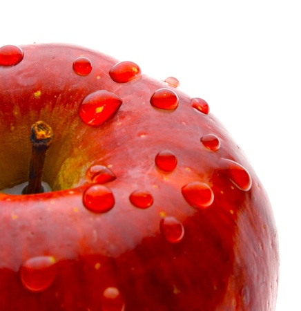 dews: red ripe apple isolated on white background