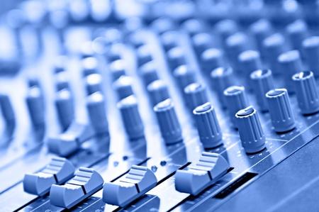 blue desk in audio recording studio