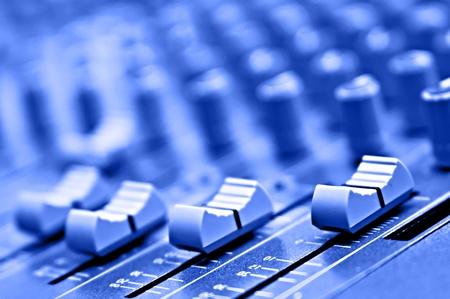 mixing: equipment recording studio in blue colour