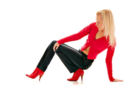 blonde in red boot isolated on white background Stock Photo - 8846689