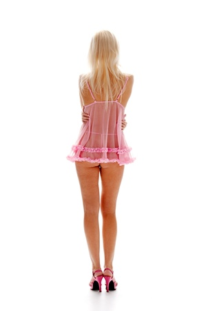seductive blonde in underclothes isolated on white background