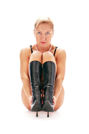 woman in boot isolated on white background photo