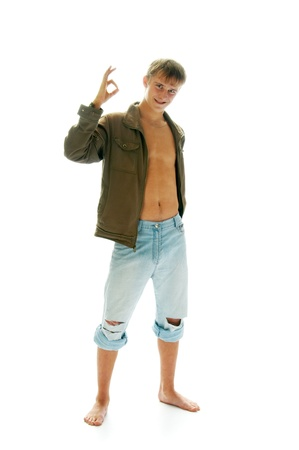 young man in jacket and jeans isolated on white background
