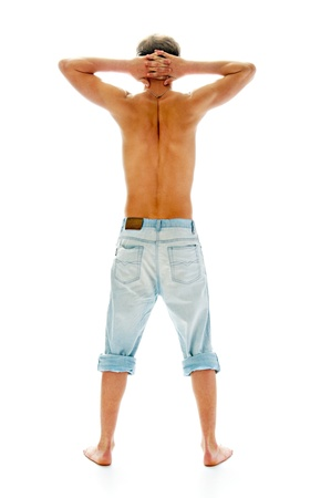 tanned man in jeans isolated on white background photo